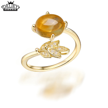 DELIEY 100% Genuine 925 Sterling Silver Natural Citrine Vintage Leaf Rings For Women Engagement Wedding Fine Jewelry