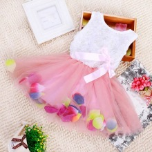 Baby Summer Girls Sweet Bow Gown Dress Baby Aestheticism Fairy Tale Petals Colorful Dress Chiffon Princess Newborn Baby Dresses(China)