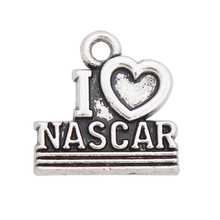 HAEQIS Vintage Alloy I Love Nascar Charms Heart Letter Charms 14*14mm 50pcs AAC954(China)