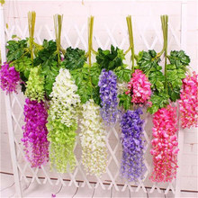 New Hot Romantic Artificial Wisteria Silk Flower Home Party Wedding Garden Hanging Floral Decoration 6 Colors