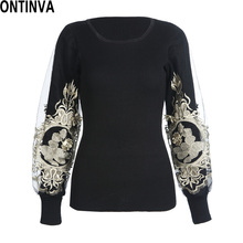 Embroidery Golden Pullover Women 2017 Autumn Lantern Long Sleeve Womens Jumpers Slim Sweaters Black Sweater Slim Bodycon Tops(China)