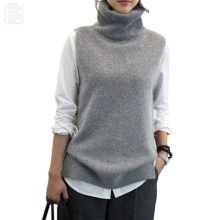 Women's Knitted Angora Cashmere Turtleneck Vest Back Slit Winter Female Wool Swaeter Sleeveless Fashion 2017 New Black Grey Vest(China)