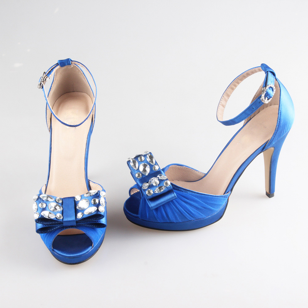 Special offer Handmade elegant blue bow crystal woman high heels bridal wedding party prom pumps ankle strap covered heel shoes<br>