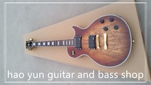 in stock! Electric guitar Hot Sale LP Map transparent brown Custom Electric Guitar 6 Strings Guitars(China)
