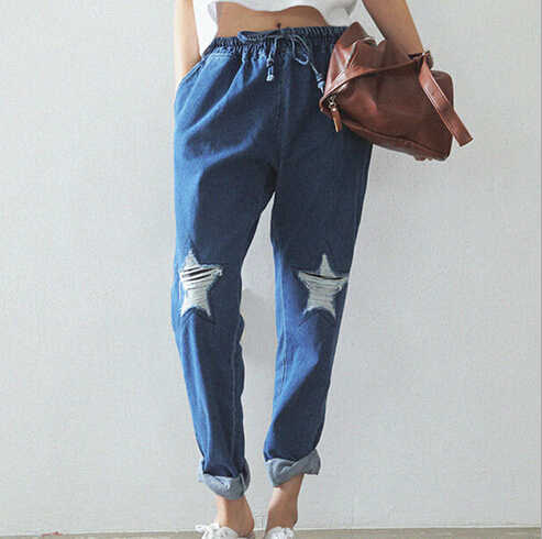 EAST KNITTING CC102 Hot Fashion 2014 Women Jeans Stars Hole Pants Loose Lace-up Jeans Harajuku Plus Size Одежда и ак�е��уары<br><br><br>Aliexpress