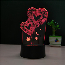 Star Double Love 3D light LED 7 Color change 3D Night Light sitting Room Heart Bedroom Table LampTouch Desk lamp(China)
