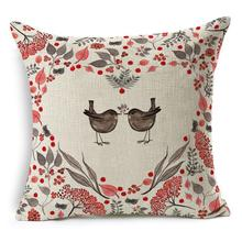 RUBIHOME New Fashion Cheap Cushion Cover Decorative Pillow Case Polyester Modern Home Decor Sofa Design Tiger Deer Birds Plant(China)