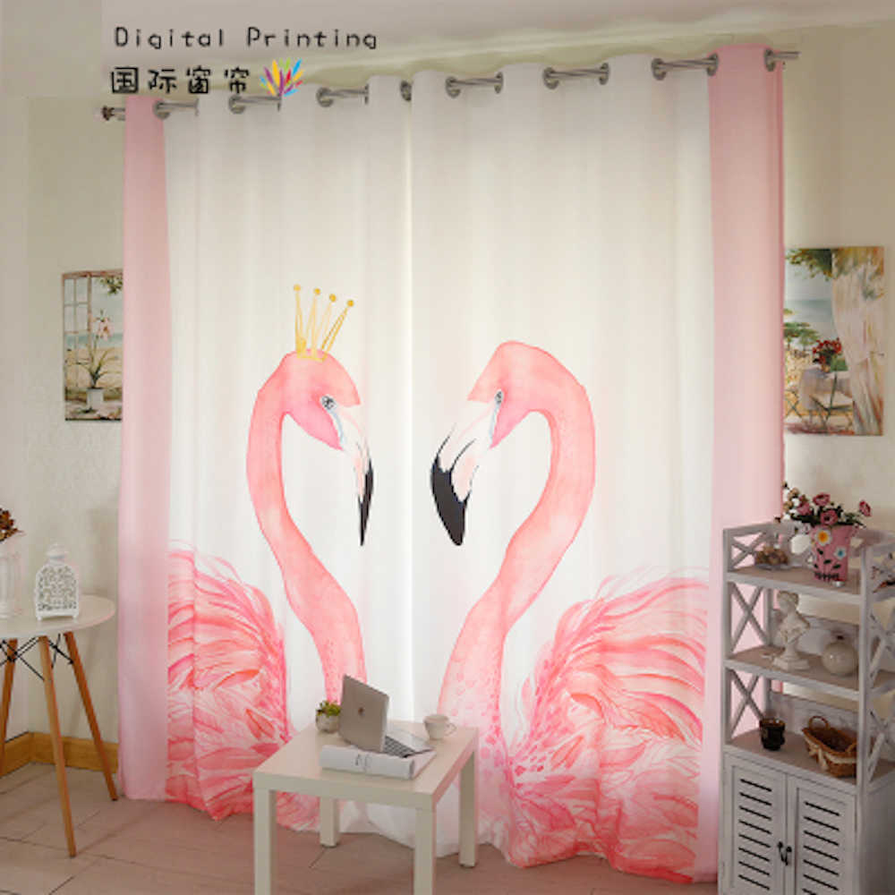 Personal Tailor 2x Window Drapery Nursery Girl Children Room Curtain Window Dressing Covering Tulle 200cm x 260cm Flamingo White
