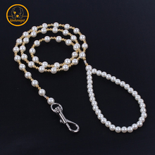 120cm Pet Pearl Leash Goods For Pet Dog Rope Leash puppy training Pearl Chain Dog cats Accessories lead Leash For Dog Shows PG11