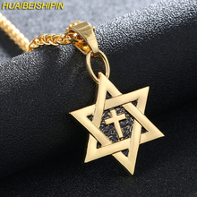 HUAIBEISHIPIN Hot Magen Star of David Cross Pendant & Necklace Gold Color Women/Men Chain Israel Jewish Jewelry 55CM Gold Chain(China)
