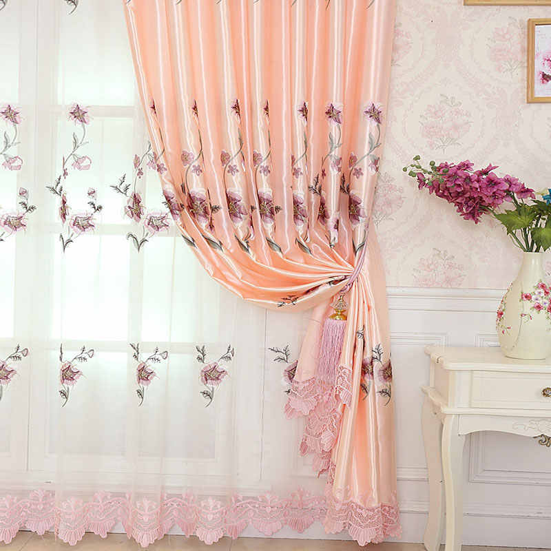 European Flower Embroidery Blackout Curtain Luxury Tulle Curtains For living Room Bedroom Balcony Window Screen Curtain Sets