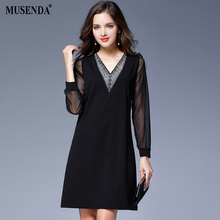 MUSENDA Plus Size Women Black Sexy See Through Sleeve Patchwork Diamonds V-Neck Short Dress Female Dresses Vestido Clothing Robe(China)
