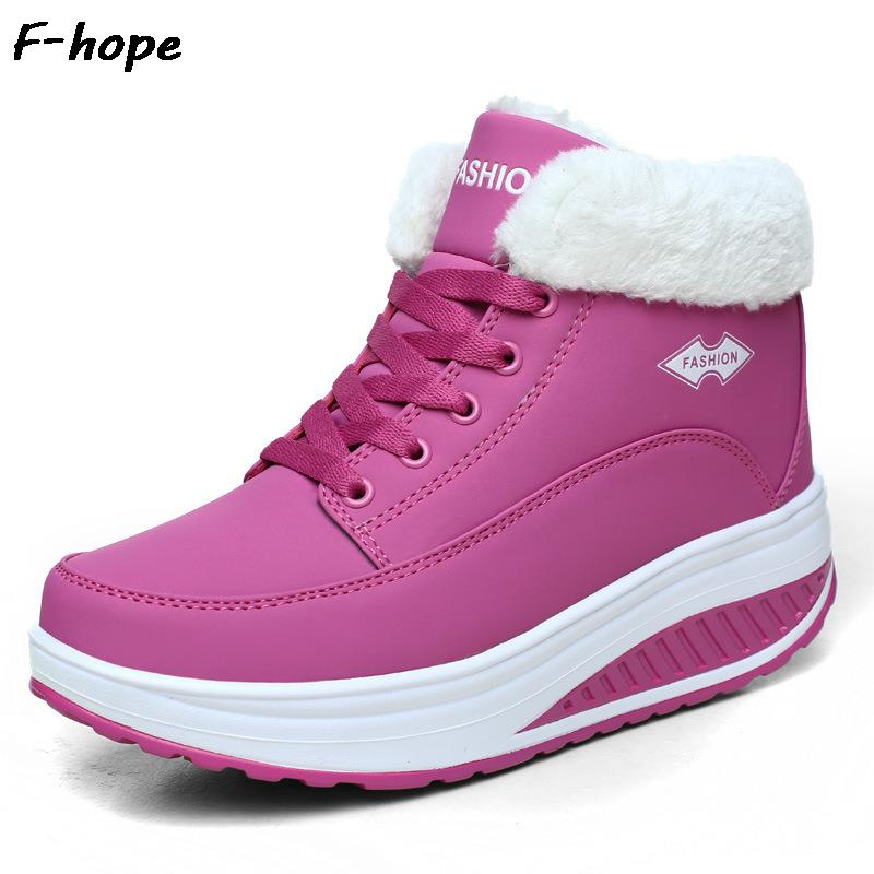 PU Leather warm  shoes Platform waterproof winter sneakers female sport toning shoes Wedge Platform Swing<br><br>Aliexpress