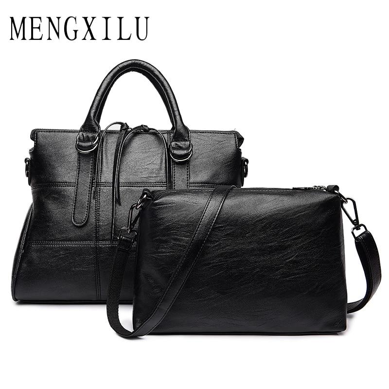 MENGXILU Leather Women Handbag Ladies Shoulder Bags Handbags Women Famous Brands Large Capacity Casual Tote Bag Double Belt 2018<br>