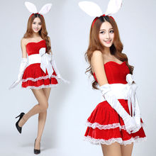 Adult Sexy Ladies Christmas Fancy Dress Rabbit Ear Headwear Red Santa Party Costume XMAS Outfit(China)