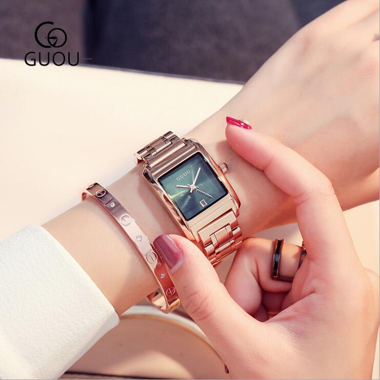 GUOU Women Watches Luxury Rose Gold Steel watch Fashion Womens Watches Rectangle Clock Ladies Watch saat relogio feminino<br>