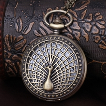 New pocket watch peacock open tail Necklace Vintage old fashion woman watches Retro Jewelry