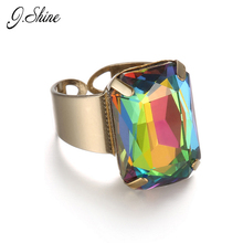 JShine 15 Color Geometric Simple Open Statement Ring for Women Multicolor Crystal Opal Ancient Gold Color Adjustable Jewelry
