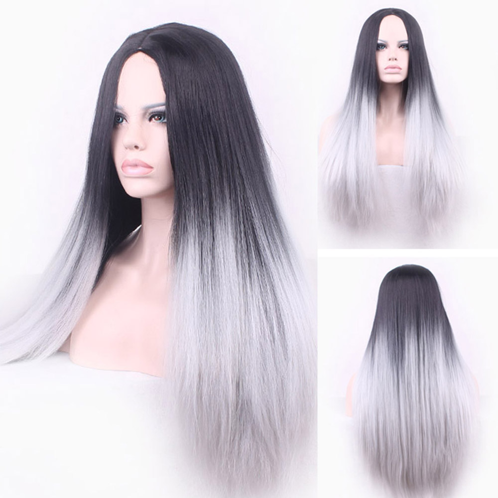 Black To Gray Hair Straight Long Wigs Women Wig White Synthetic Hair Heat Resistant Omber Hair<br><br>Aliexpress