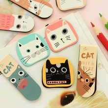 2 pcs/lot Cute Kawaii Magnetic Paper Bookmarks Marque Page Cat Book Markers For Books School Supplies Free Shipping 2465(China)