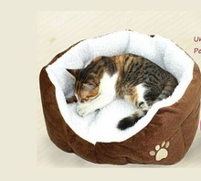 Best selling Panier Corbeille Niche Coussin Maison Lit amovible Pour Chien Chat Animaux Taille S 46*42*15cm COFFE(China)