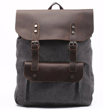 "Men's Canvas Genuine Leather Real Cow Multi-Function Vintage Travel Backpack Tote School Bag 14"" Computer Portable Carry Case(China)"