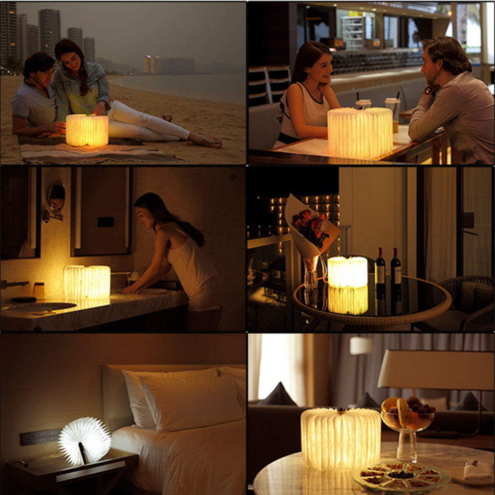 SuperNight Creative Wooden LED Book Light Portable Folding USB Rechargeable Romantic Colorful Night Light Kids Baby Bedside Lamp (5)