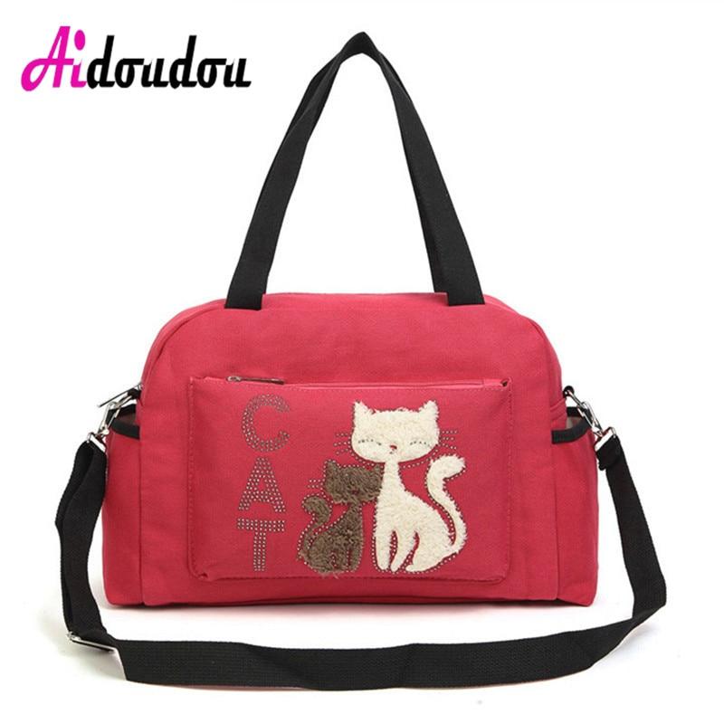 Cute Cat Prints Women Shoulder Bags Big Handbags Cat Print Womens Bag 2017 bolsa feminina female Black<br>