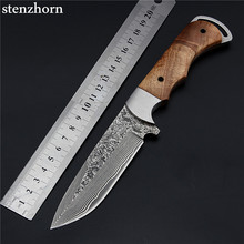 Stenzhorn 2017 New Real Damascus Outdoor Self-Defense Field Army Knife High Hardness Survival Straight Blade Weapon With Knives(China)