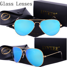 lvvkee Luxury Brand hot Pilot aviator sunglasses women 2017 Men glass lens Anti-glare driving glasses 58mm 3025  Color Lenses