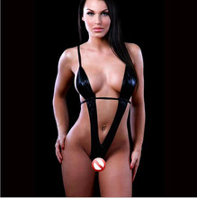 New Sexy lingerie women plus size three point  luru black leather erotic lingerie teddy sexy costumes