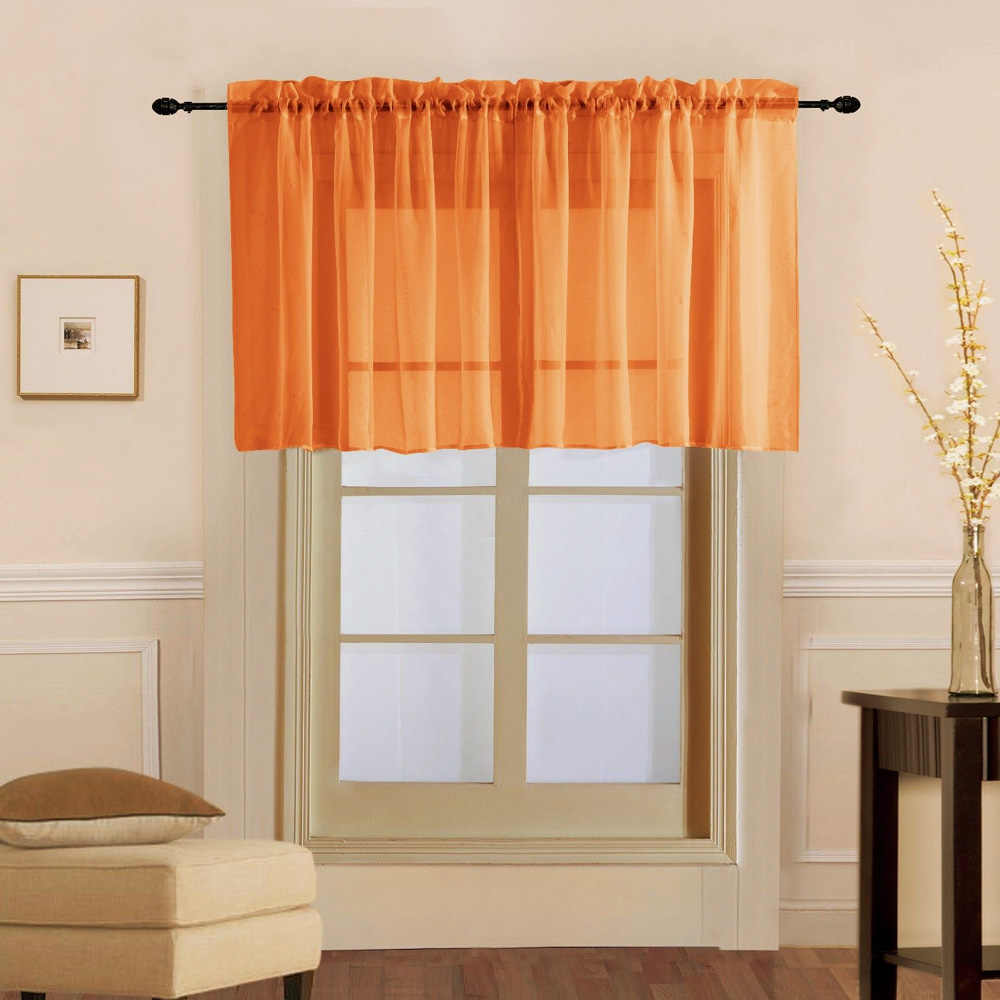Orange Short Curtains Lotus Design Window Sheer Tulle Kitchen Curtains for Living Room Bedroom white yarn for Door Y