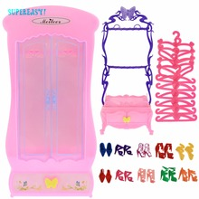 22 Pcs = 1x Plastic Furniture Living Room Wardrobe + 1x Shoe Cabinet + 10x Pink Hangers + 10x Casual Shoes For Barbie Doll Toy