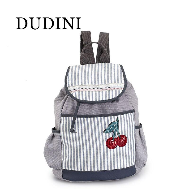 DUDINI Cherry Printing  Women Backpack School Teenagers Girls Vintage Stylish School Bag Ladies Canvas Backpack Female BackPack<br><br>Aliexpress