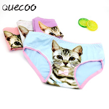 QUECOO 2017 new cute bow 3D cat sexy lingerie cotton comfortable women's underwear Pants free shipping