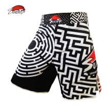 SUOTF geometric maze Muay Thai boxing black and white fitness pants ultra-thin breathable Tiger Muay Thai MMA kickboxing shorts