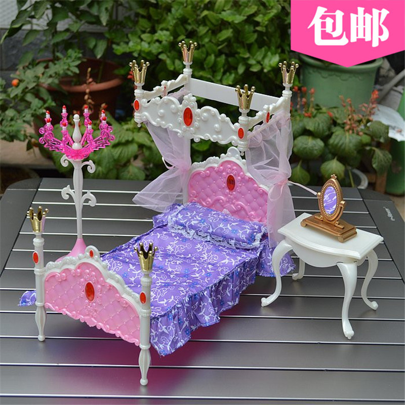 Free Shipping 3 Items Princess Bed Set Miniature Dollhouse Furniture for Barbie Doll Best Gift Toy for Girl<br>