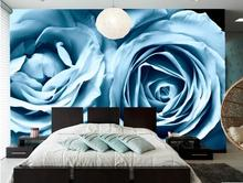 Roses Light Blue Flowers wallpaper,hotel coffee shop living room sofa TV wall bedroom wall paper murals modern wallpaper