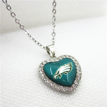 10pcs/lot USA Philadelphia Eagles Heart Necklace Pendant Jewelry With Chains Necklace DIY Jewelry Football Sports Charms(China)