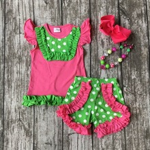 baby girls summer shorts outfits children hot pink with lemon green polka dot shorts children cute clothing with accessories