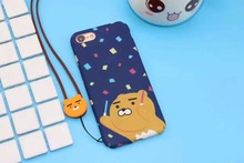 Korea Cute Kakao Friends Honey Peach NEO Apeach Ryan Hard Plastic Case Cover With Same Paragraph Lanyard For Iphone 7Plus 5.5inc