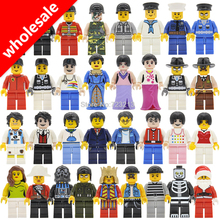 Wholesale 10pcs/lot City Police King Figure Princess Lady Doctor Messi Navy Military Cowboy Building Blocks Model Bricks Toys