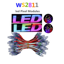 50pcs 12mm WS2811 led pixel module  led lumineuse luces DC5V full color  WS2811 pixel string waterproof RGB led module