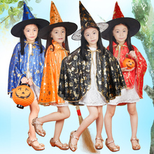 Free delivery Boy Girl Kids Children Halloween Costumes Witch Wizard Cloak Gown Robe and Hat Cap Stars Fancy Cosplay Children(China)