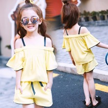 summer 4-14 years old Girls short pants + off shoulder t shirt two pc sets baby child clothing children clothes set kids sets