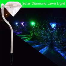 4 Pcs Solar LED Diamond Lawn Lights with 7 Colors Changing Romantic Energy Saving Fashionable Outdoor Garden Decor LED Lights