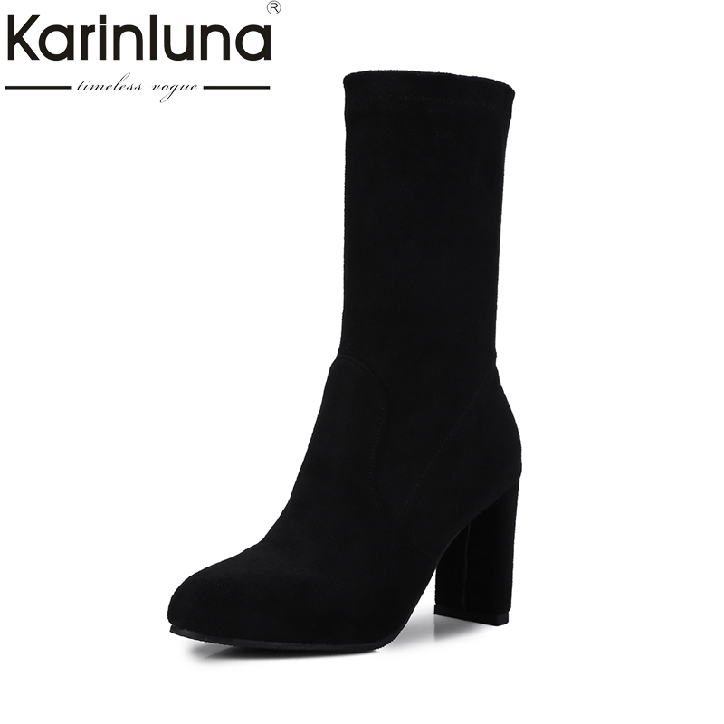 KARINLUNA Brand New Plus Size 32-48 Elastic Women Shoes Woman Fashion High Heels Winter mid-calf Boots Lady Black Add Fur<br>