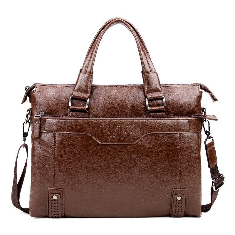 POLO 2017 new brand good quality leather Business Handbag Mens Briefcase bag Men Messenger Bag bolsa fashion mens travel bags<br>