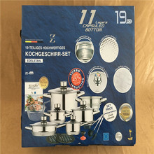 Cookware Set Pots Stainless Steel #18/10 Thermometer Knob Professional Cookware Set 19 Pieces Stock Pot Frying Pan Casserole(China)