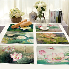 Hot Sale Lotus painting Placemat Cotton Linen Drawing Table Mat Dishware coasters For Dinner Accessories Cup Wine mat
